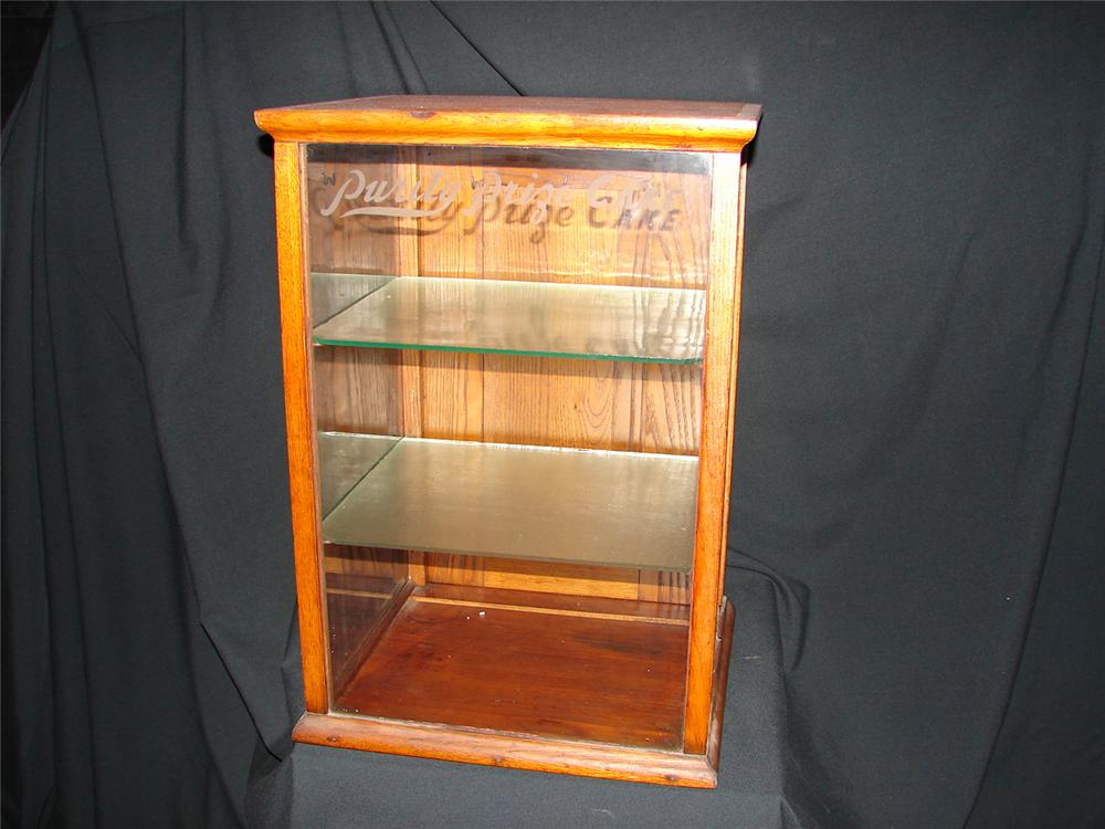Turn of the century Purity Prize Cake double-shelf general store counter-top display case. - Front 3/4 - 74857