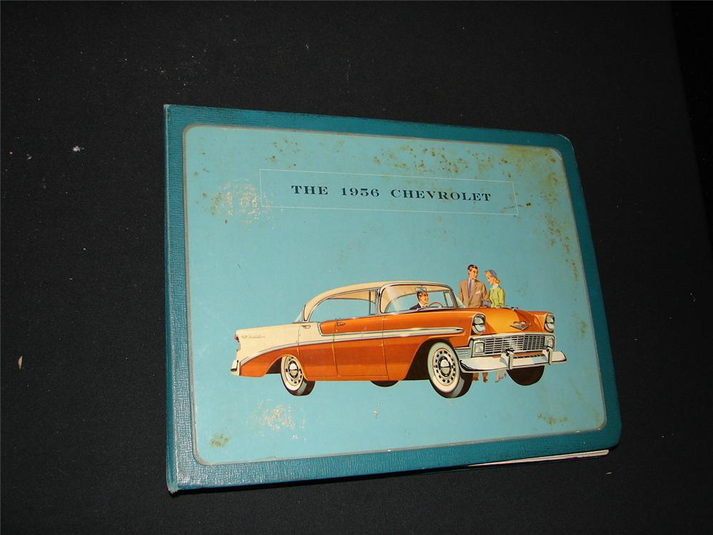 Fabulous 1956 Chevrolet showroom sales dealer book covering the entire line-up with specs, illustrations, and interior samples. - Front 3/4 - 74864