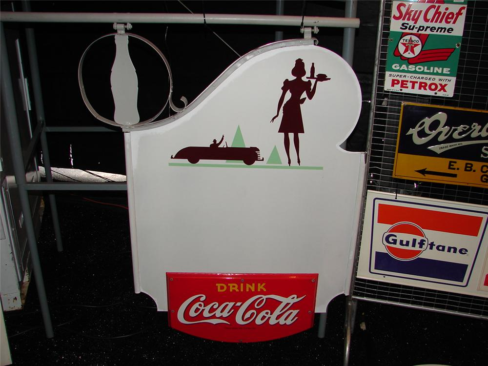 Awesome 1950s Coca-Cola double-sided porcelain drive-in sign with period car and waitress depicted. - Front 3/4 - 74867