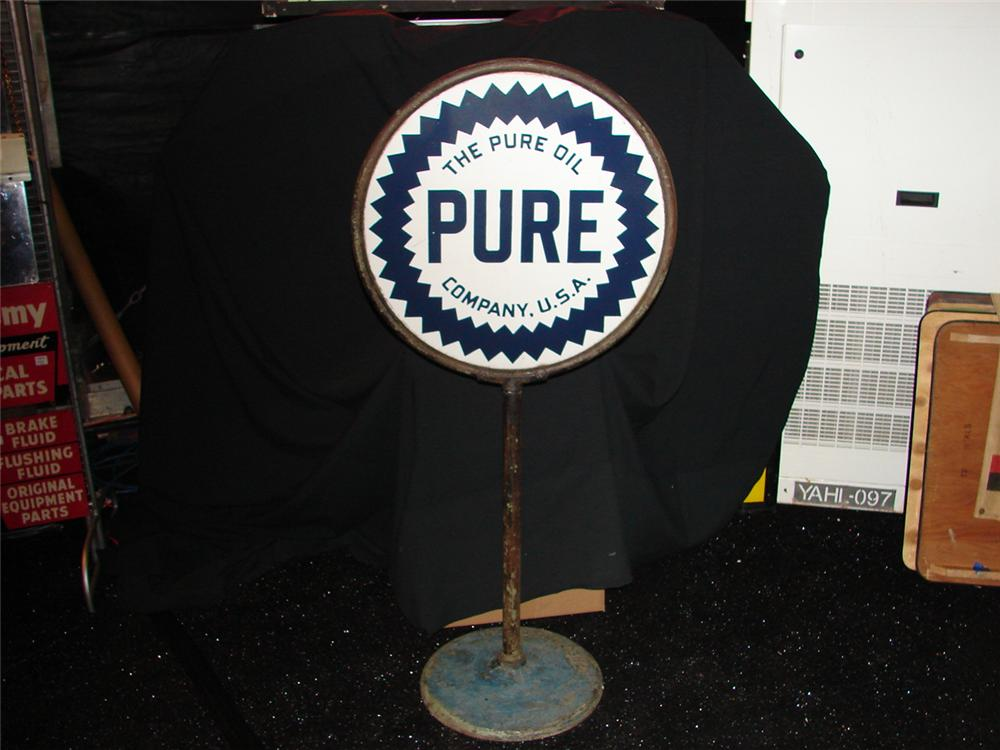 Very nice 1930s Pure Motor Oil double-sided porcelain curb sign on stand. - Front 3/4 - 74868