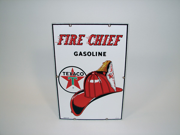 Very clean 1963 Texaco Fire Chief porcelain pump plate sign. - Front 3/4 - 75546