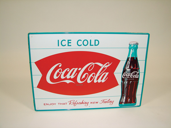 N.O.S. late 50s Coca-Cola Ice Cold tin sign with bottle and fishtail logo. - Front 3/4 - 75553