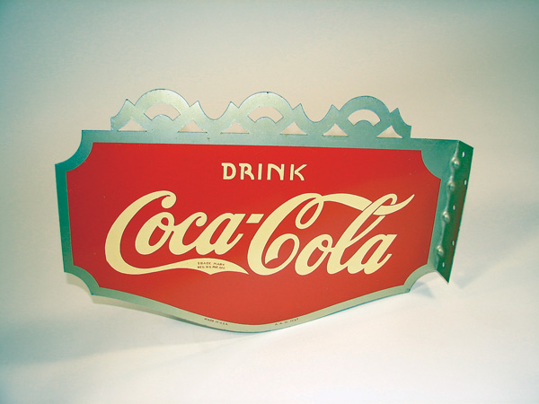 Phenomenal N.O.S. 1937 Coca-Cola scalloped topped die-cut tin soda fountain flange. - Front 3/4 - 75556