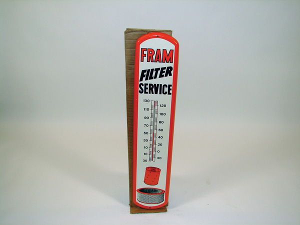 N.O.S. 1950s Fram Filter Service over-sized tin painted garage thermometer still in the original box. - Front 3/4 - 75560