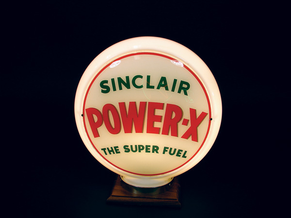 1950s Sinclair Power-X narrow bodied glass pump globe. - Front 3/4 - 75561