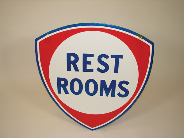 Scarce 1950s Fina Service Station Rest Rooms double-sided porcelain sign. - Front 3/4 - 75569