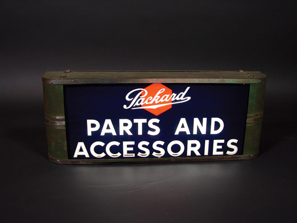 1930s Packard Parts and Accessories light-up garage sign with art deco chrome accents. - Front 3/4 - 75574