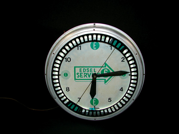 Extremely rare 1950s Edsel Automobiles neon dealership clock by Swihart. - Front 3/4 - 75575