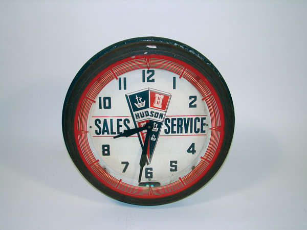 All original 1930s-40s Hudson Automobiles neon dealership clock. - Front 3/4 - 75576