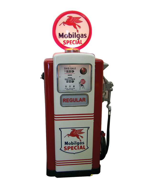 Impeccably restored 1950s Wayne model #100 Mobil service station pump. - Front 3/4 - 75582