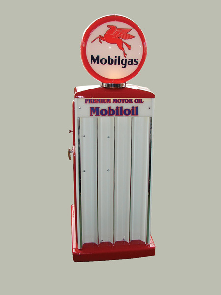 Hard to find 1950s Mobil Sel-Oil service station fuel island quart display cabinet with lit-globe. - Front 3/4 - 75583