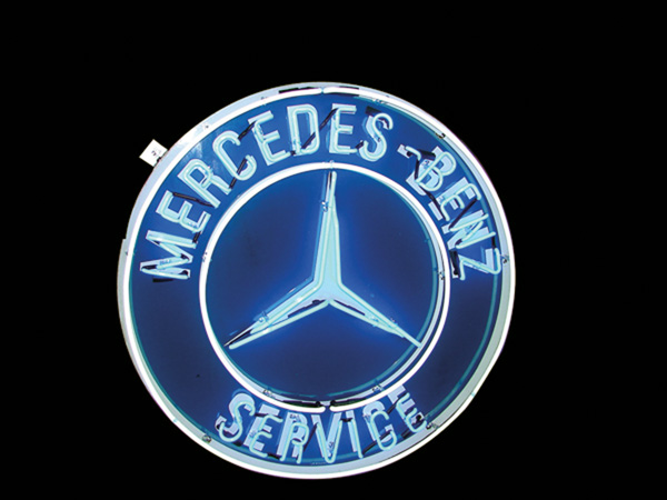 Killer 1950s Mercedes-Benz single-sided porcelain dealership neon sign. - Front 3/4 - 75585