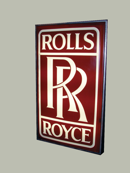 Hard to acquire 1960s Rolls Royce light-up dealership sign. - Front 3/4 - 75586