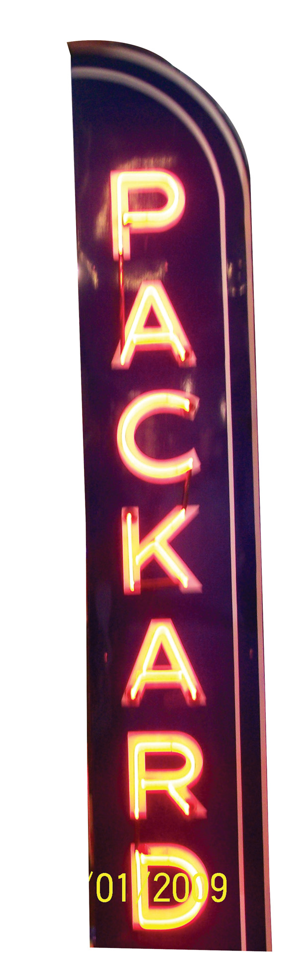 Scarce 1930s-40s Packard Automobiles single-sided vertical neon porcelain dealership sign. - Front 3/4 - 75595