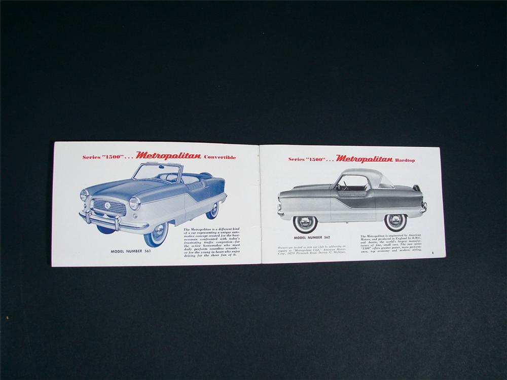 Rare 1958 Nash Metropolitan dealer showroom sales data catalog. - Front 3/4 - 75615