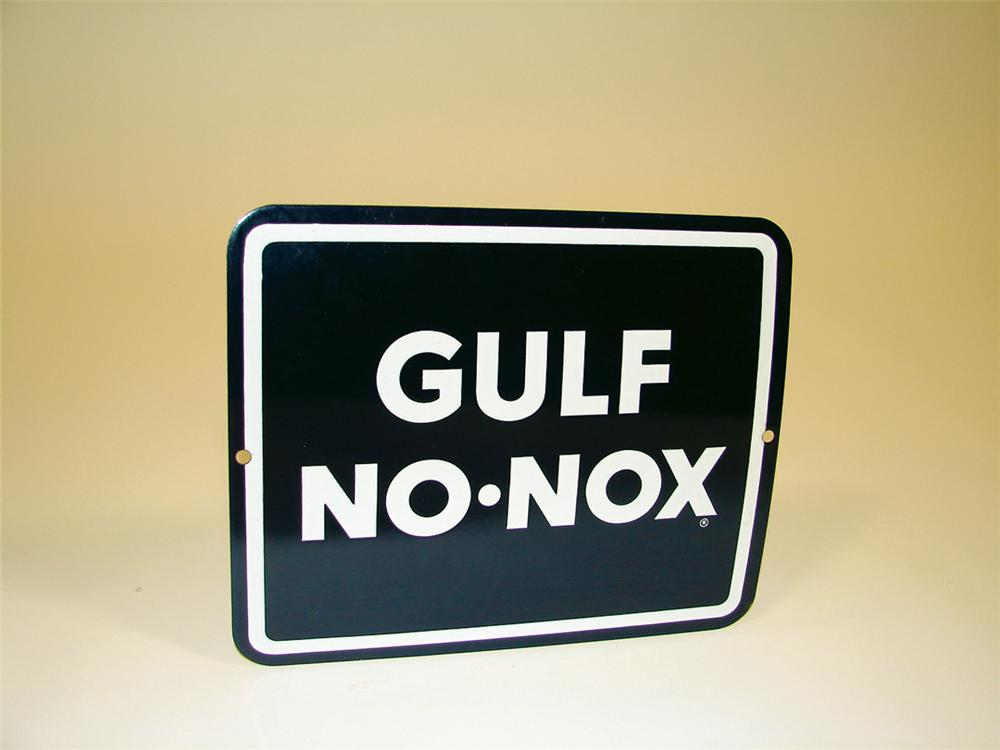 N.O.S. late 50s Gulf No-Nox porcelain pump plate with Gulf logo. - Front 3/4 - 75620