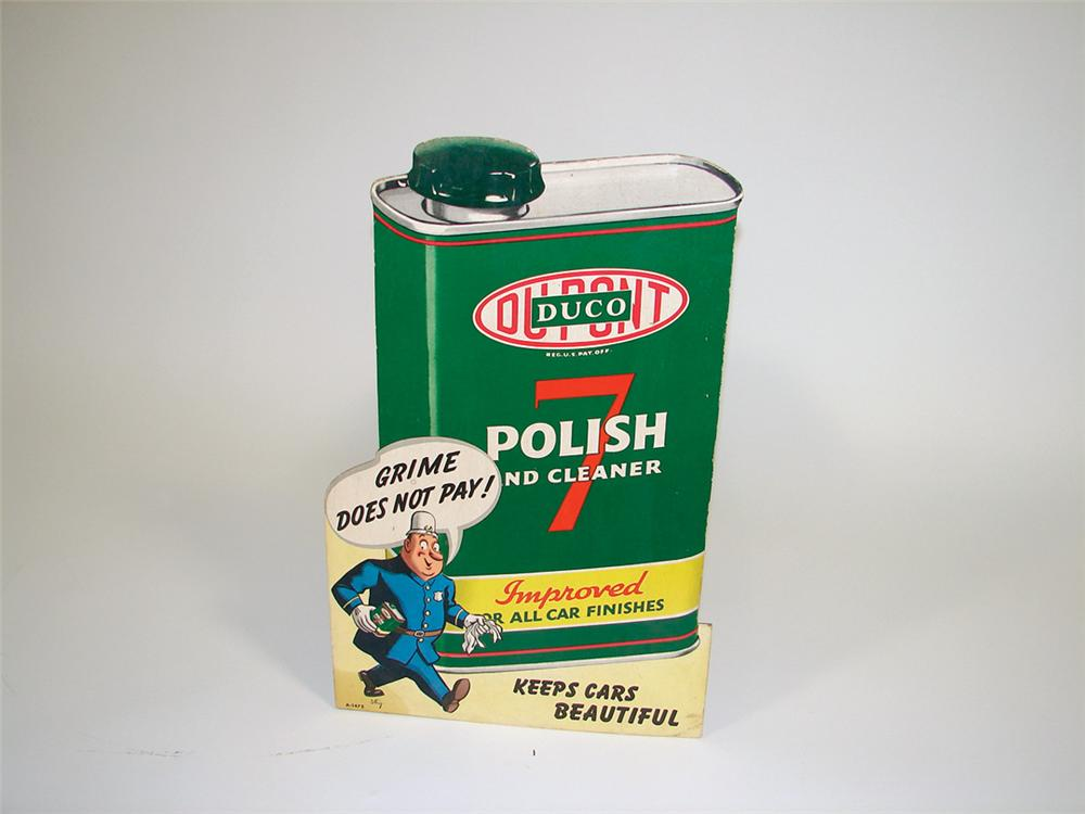 "1940s Dupont Duco 7 Automotive Polish cardboard sign. Size 13""x20"" - Front 3/4 - 75625"