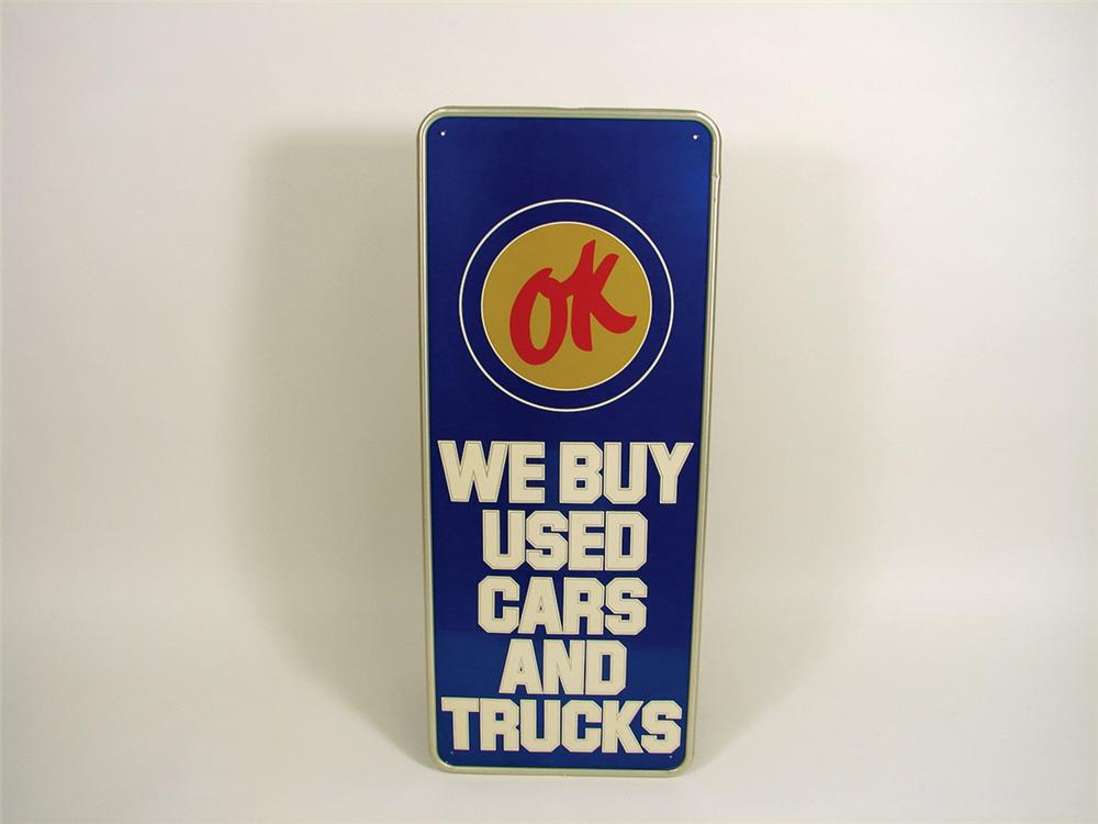 Hard to find 1960s Chevrolet OK Used Cars vertical tin garage sign. - Front 3/4 - 75627