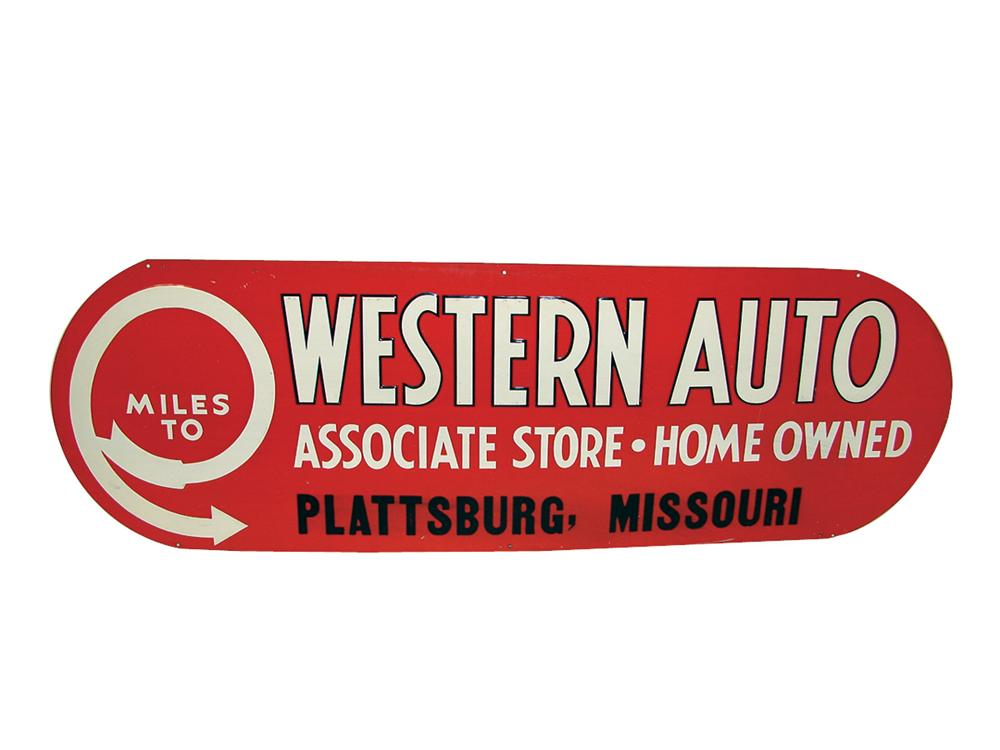 N.O.S. 1940s Western Auto single-sided embossed tin garage sign. - Front 3/4 - 75628
