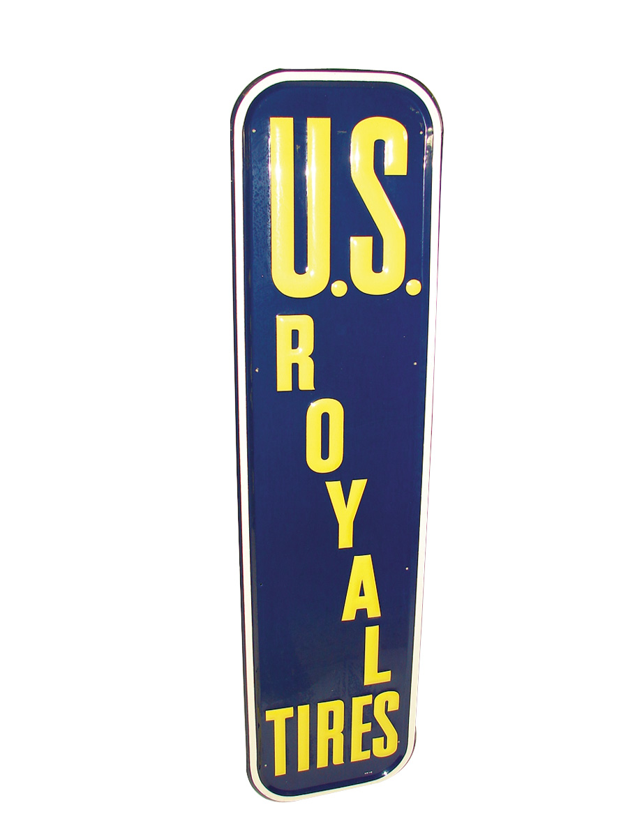 Immaculate N.O.S. 1949 U.S. Royal Tires vertical tin embossed garage sign. - Front 3/4 - 75630
