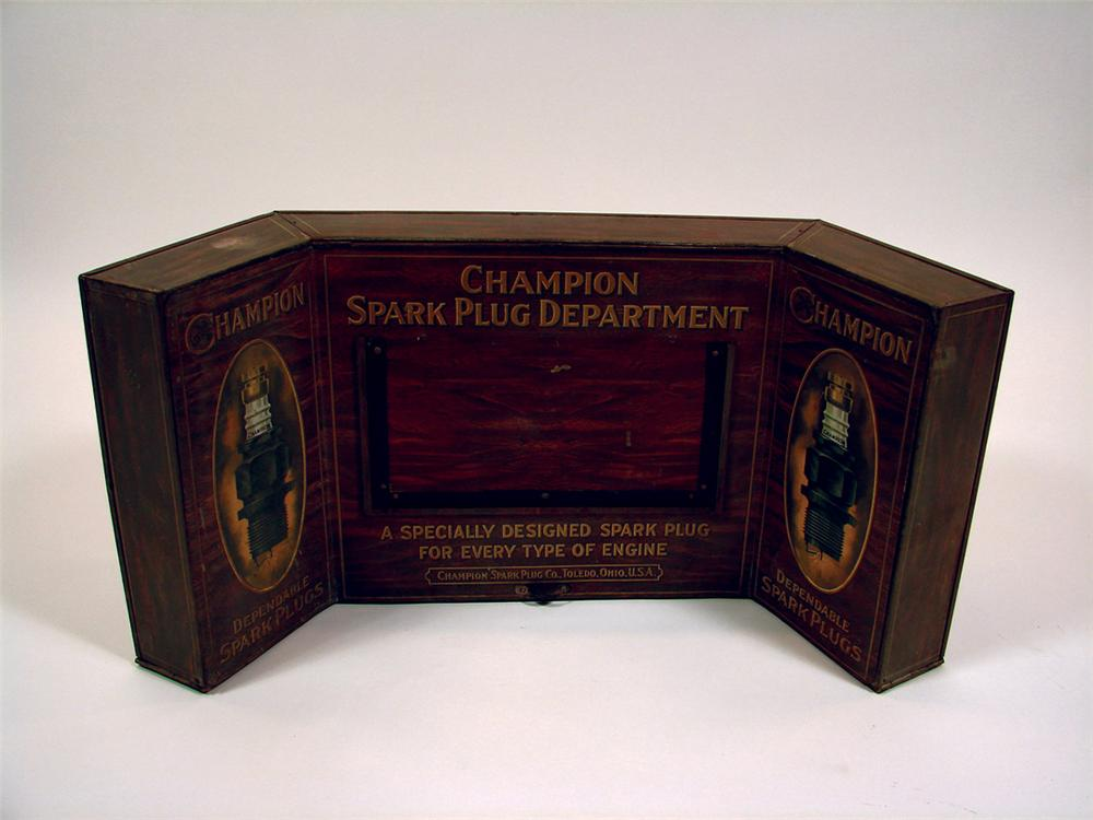 Superb 1920s Champion Spark Plug Department counter-top garage display cabinet. - Front 3/4 - 75632