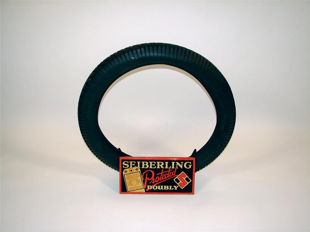 Museum quality 1925 Sieberling Tires metal tire display with period tire. - Front 3/4 - 75633