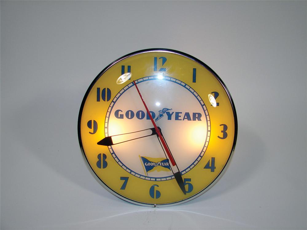 Late 40s-early 50s Goodyear Tires light-up garage clock by Telechron. - Front 3/4 - 75635