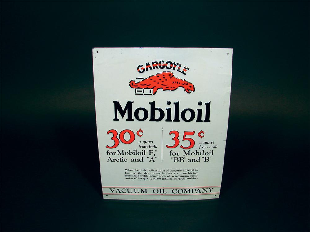 Scarce N.O.S. 1920s Mobil Gargoyle Oil tin station price sign.  Found unused after 80+ years!! - Front 3/4 - 75642