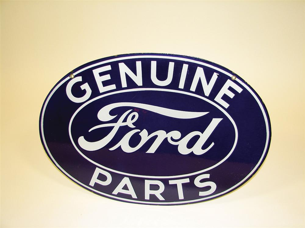 Superlative 1930s Ford Genuine Parts double-sided porcelain dealership sign. - Front 3/4 - 75645