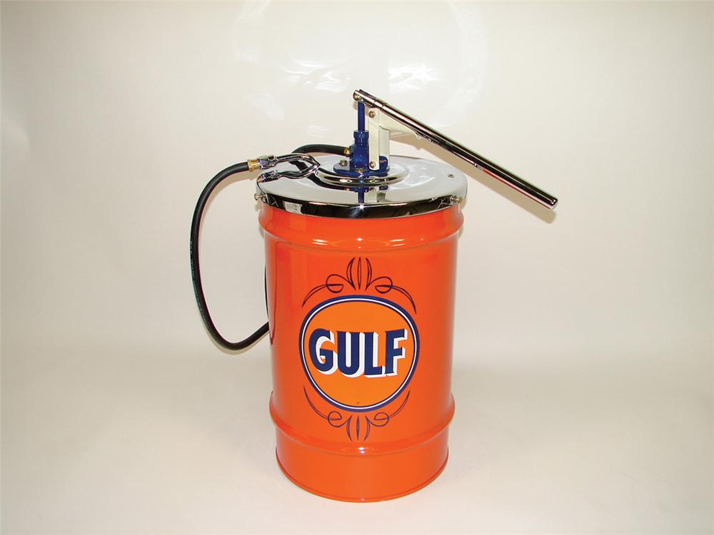 "Nice Gulf Service Station restored 15 gallon hand pump greaser.  Size 23""x16""x30"" - Front 3/4 - 75650"