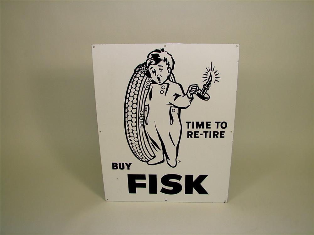 Unusual 1930s Fisk Tires single-sided porcelain garage sign with tire boy graphic. - Front 3/4 - 75654