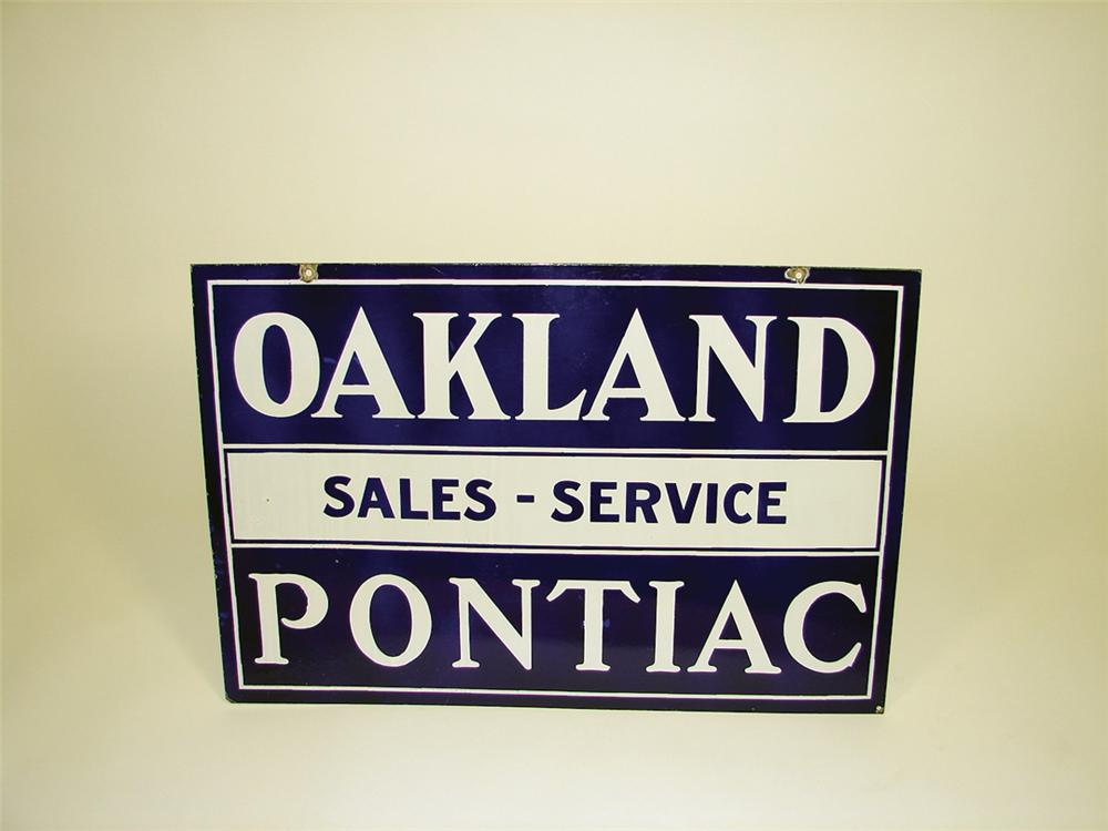 Very nice 1930s Oakland-Pontiac double-sided porcelain dealership sign. - Front 3/4 - 75656