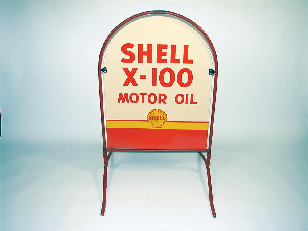 Extremely rare N.O.S. 1940s-50s Shell X-100/Golden Shell Motor Oil double-sided porcelain curb sign. - Front 3/4 - 75658