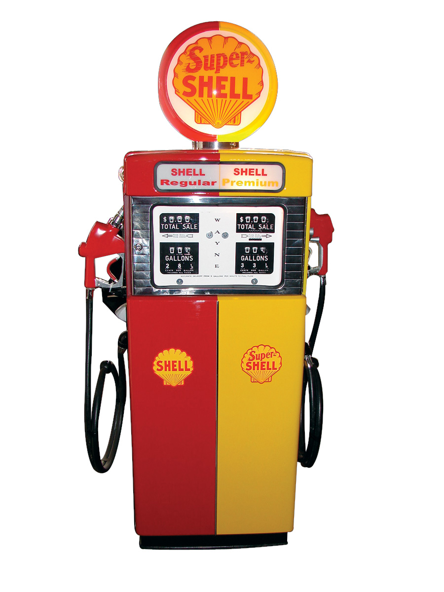 Striking 1953 Shell Oil Wayne 505 Dual Product product gas pump. - Front 3/4 - 75680
