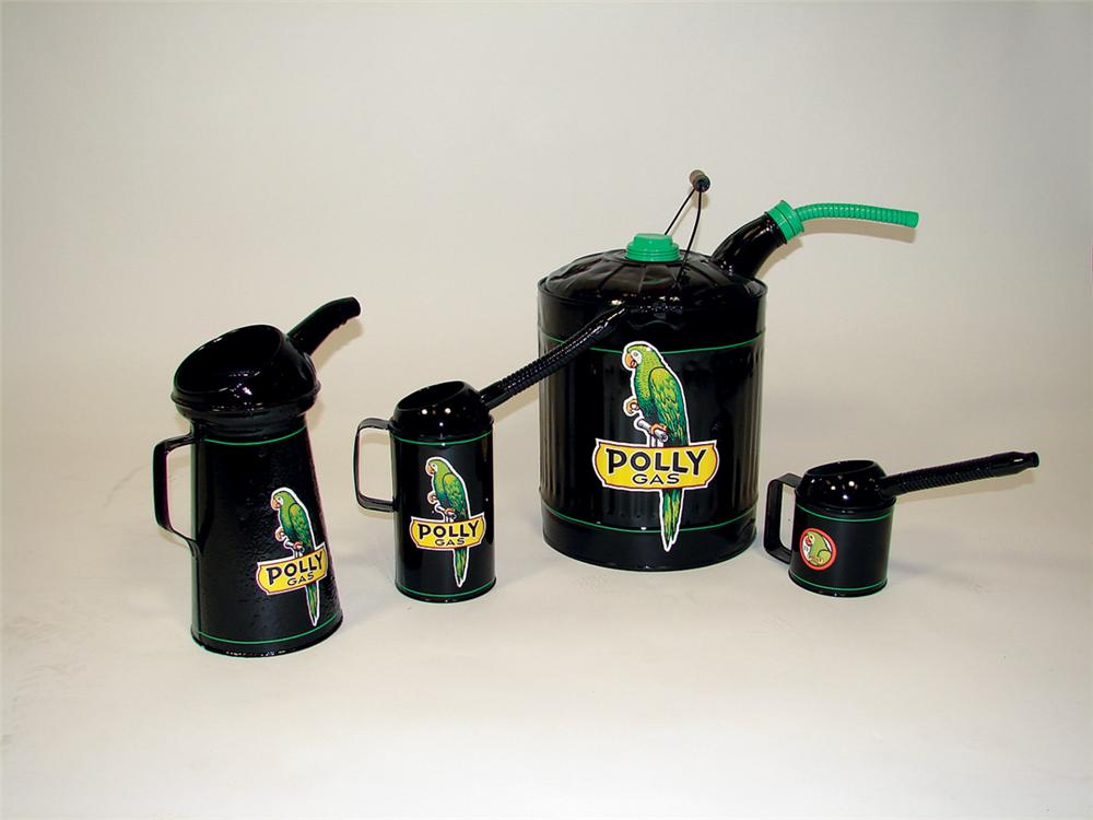 Lot of four nicely restored period Polly Gasoline service department cans. - Front 3/4 - 75682