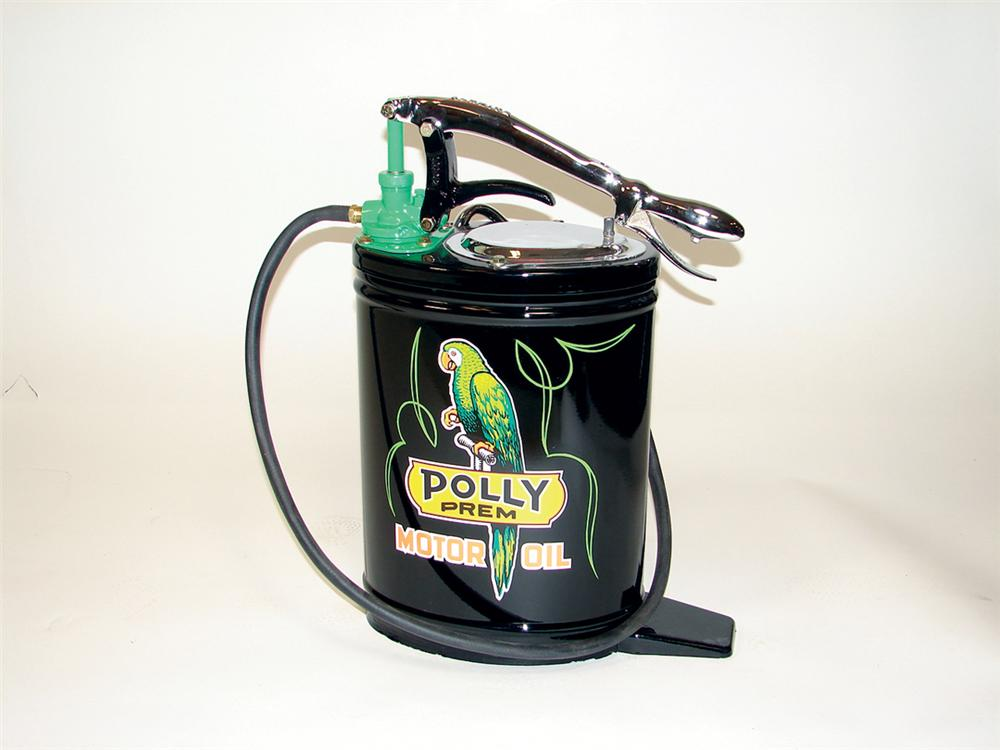 Immaculate 1930s Polly Gasoline 5 gallon hand pump station greaser. - Front 3/4 - 75684