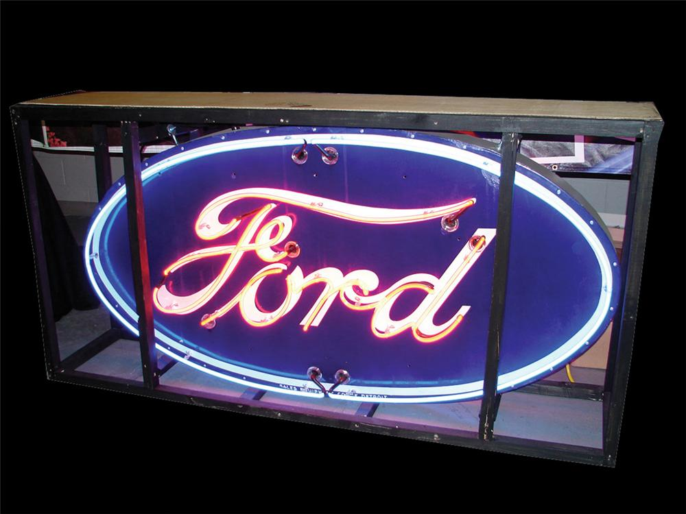"Sharp 1930s Ford Automobiles single-sided porcelain neon dealership sign.  Large Version.  Size 84""x36""x8"" - Front 3/4 - 75688"