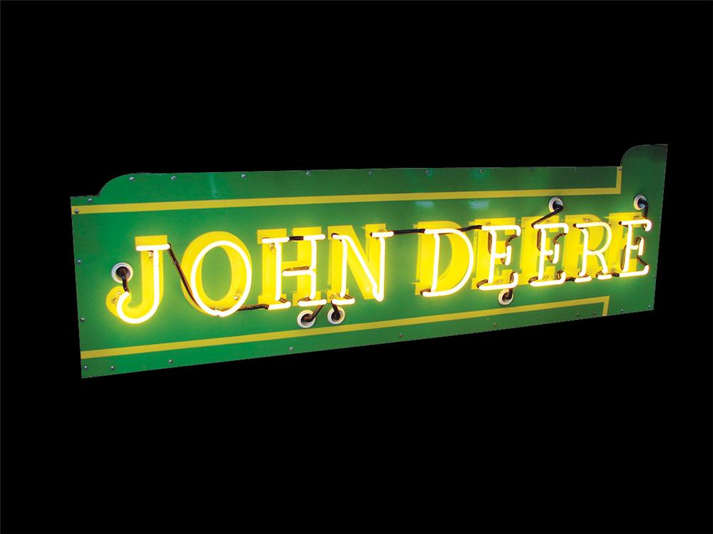 1940s John Deere single-sided porcelain neon dealership sign. - Front 3/4 - 75689