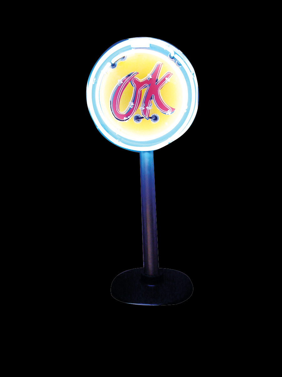 Marvelous 1950s Chevrolet OK Used Cars single-sided porcelain neon dealership sign on stand. - Front 3/4 - 75691
