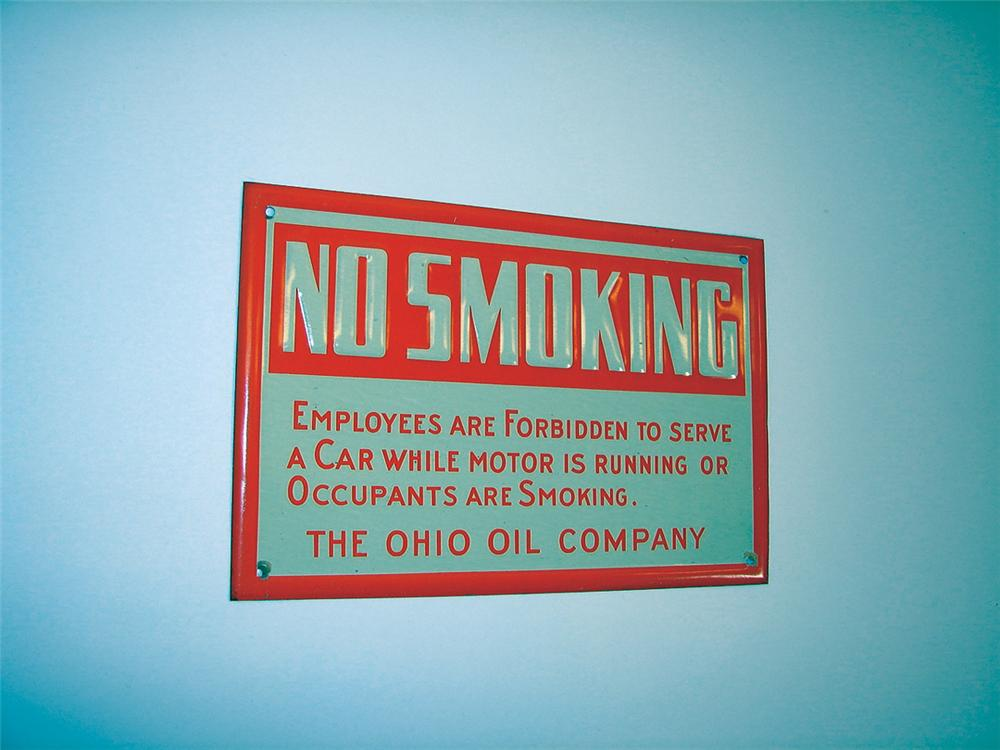"N.O.S. 1930s Ohio Oil Company ""No Smoking"" single-sided tin service station sign. - Front 3/4 - 75698"