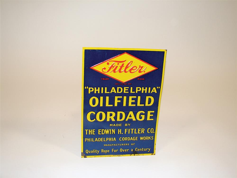 N.O.S. late 1920s Fitler Oilfield Cordage single-sided tin sign. - Front 3/4 - 75699