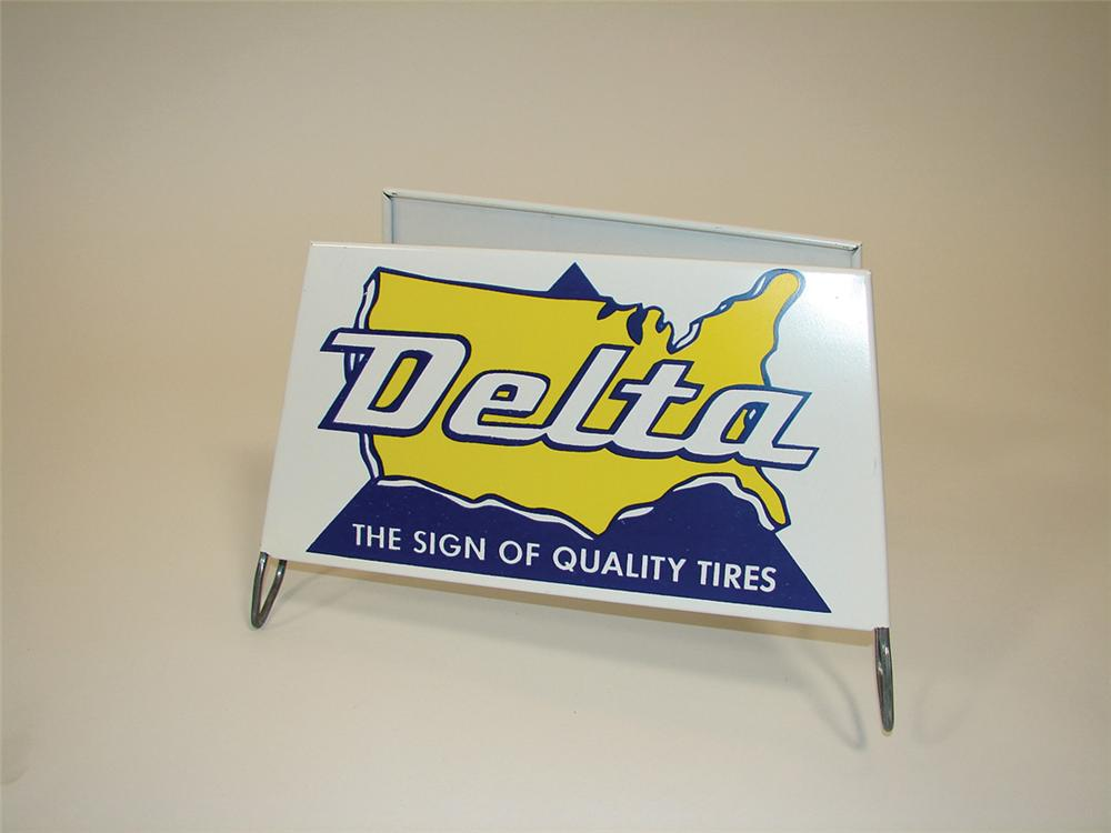 N.O.S. Early 1960s Delta Tires garage metal tire display. - Front 3/4 - 75702
