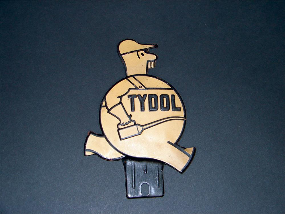 N.O.S. 1930s Tydol Gasoline license plate attachment sign. - Front 3/4 - 75703
