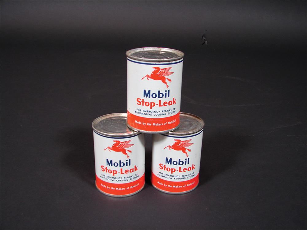 Lot of three 1950s N.O.S. Mobil Stop-Leak eight ounce tins.  Still full! - Front 3/4 - 75704
