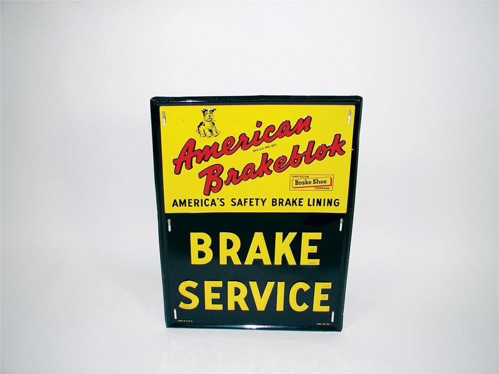 N.O.S.  1950s American Brake Blok Service embossed tin garage sign with adorable dog logo. - Front 3/4 - 75723