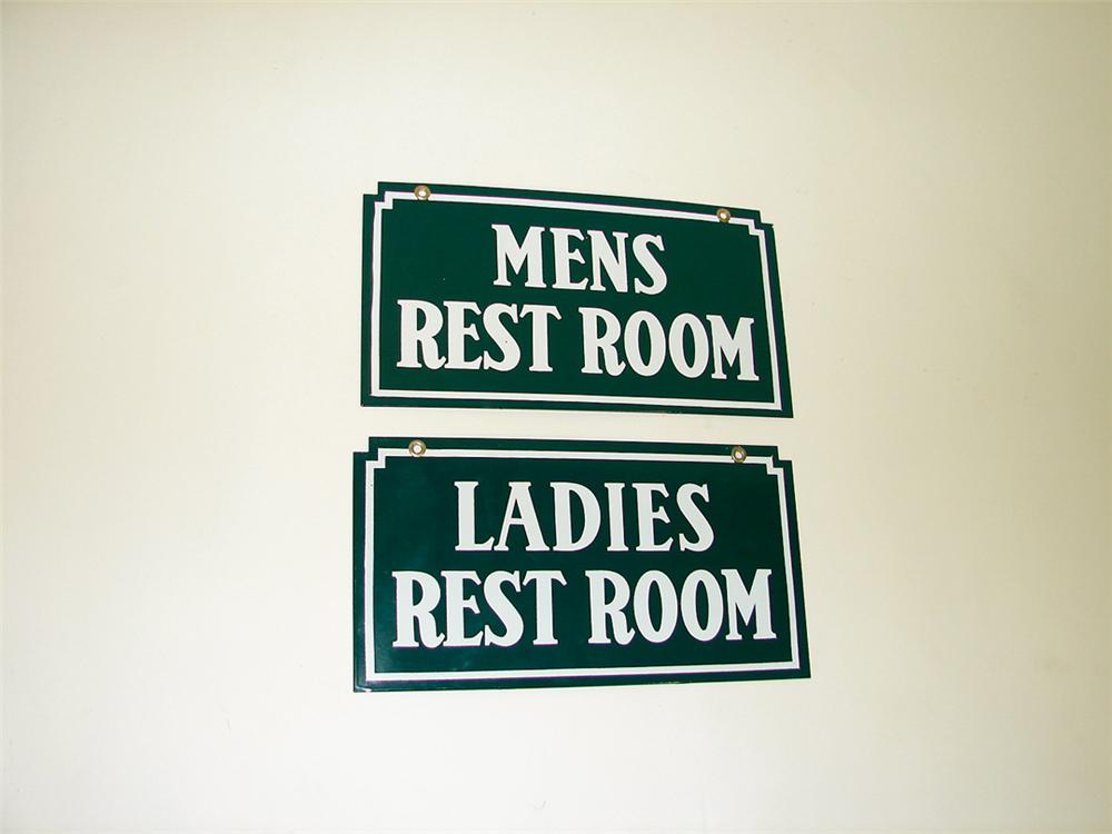 Set of Circa 1940s N.O.S. Mens-Ladies Rest Rooms porcelain signs. - Front 3/4 - 75726