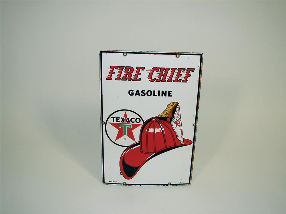 1962 Texaco Fire Chief porcelain pump plate sign. - Front 3/4 - 75731