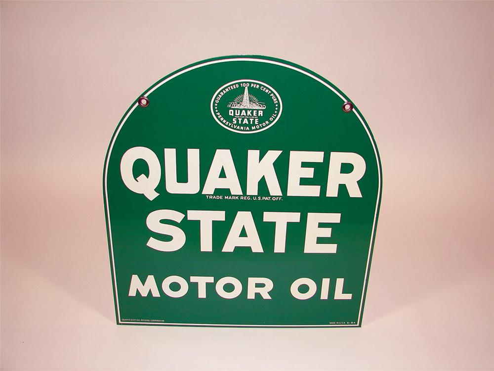 Sharp N.O.S. Quaker State Motor Oil double-sided tin garage sign. - Front 3/4 - 75735