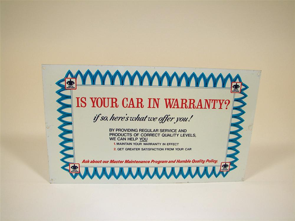 N.O.S. 1950s Humble Oil Auto Warranty single-sided tin garage sign. - Front 3/4 - 75736