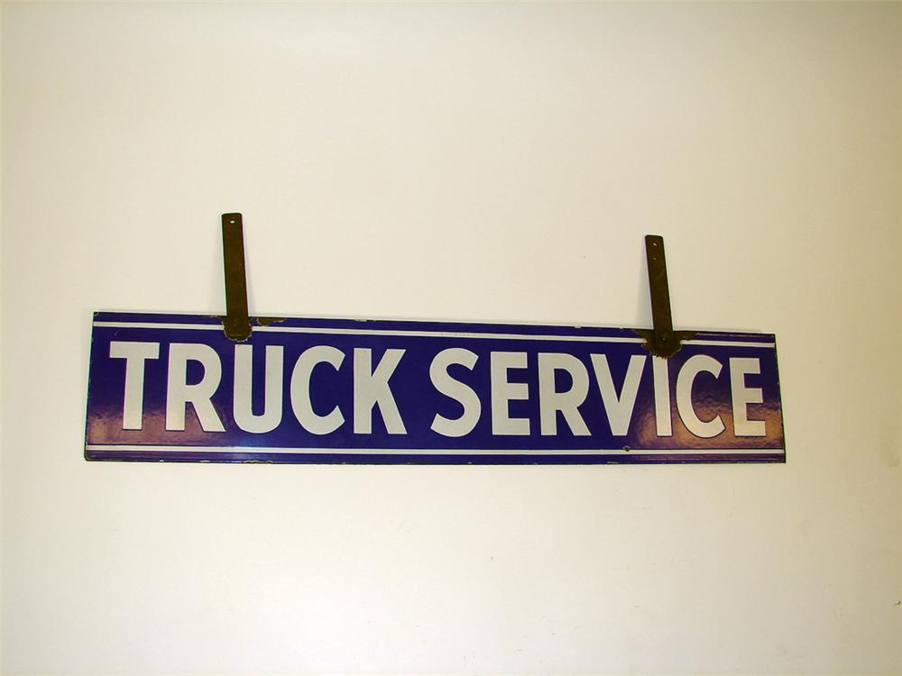 1940s Truck Service double-sided porcelain garage sign with hangers. - Front 3/4 - 75737